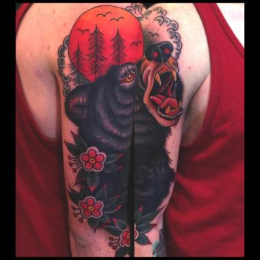 black bear tattoo!, jason walstrom tattoos, minneapolis tattoo shops, minnesota tattoo shops, minnesota tattoos, sea wolf tattoo company, traditional tattoos