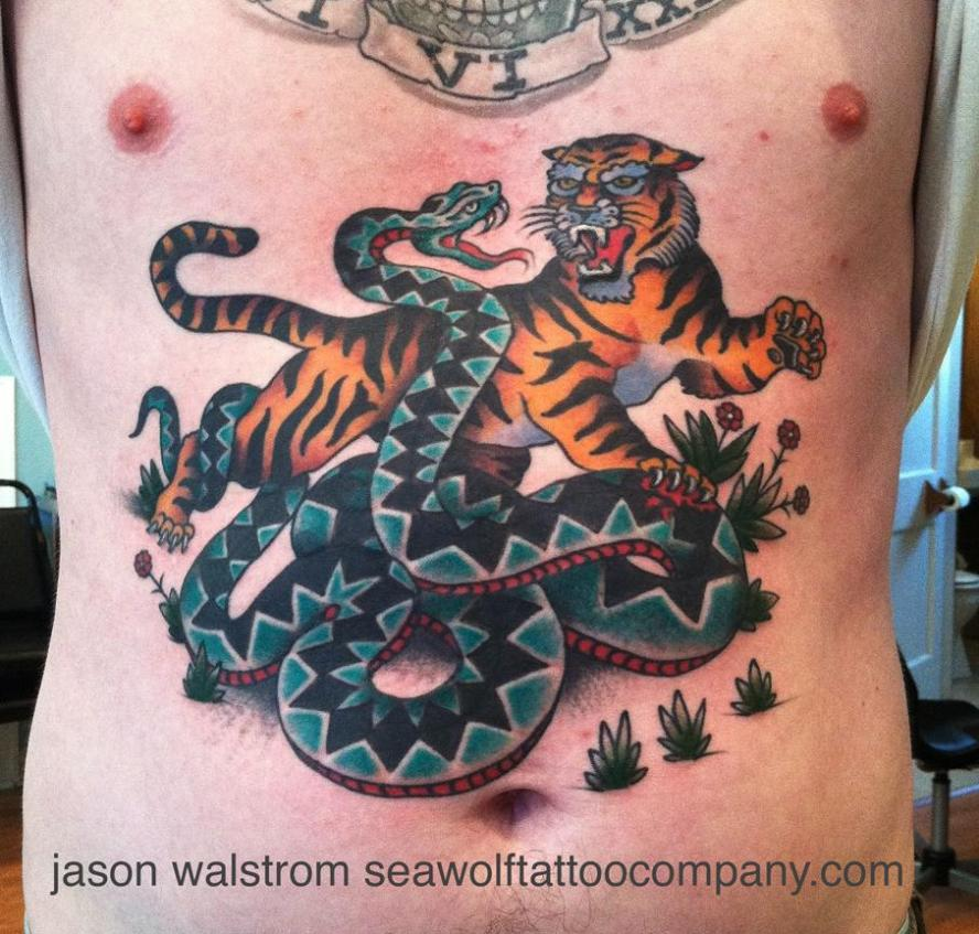 sailor jerry's tiger vs snake tattoo, jason walstrom tattoos, minneapolis tattoo shops, minnesota tattoos, tiger tattoo, tiger vs snake tattoo, traditional tattoos