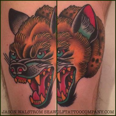 hyena tattoo, jason walstrom tattoos, minneapolis tattoo shops, minnesota tattoo shops, traditional tattoo, traditional tattoos