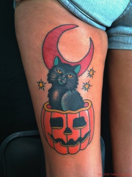 halloween-cat-tattoo