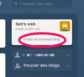Suite du cheminnement dans la création de blog tumblr
