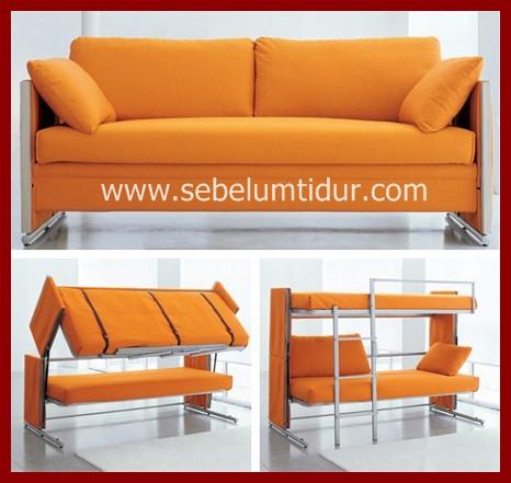 Tempat Tidur Tingkat dua kasur Yang Bisa Di Lipat Jadi Sofa