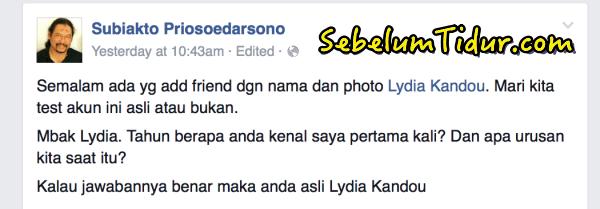 Foto Selfie Lucu Artis Lydia Kandou Membuktikan Keaslian Akun Facebooknya