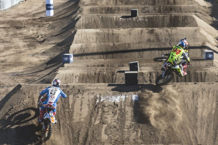 (L-R) Ryan Dungey and Ken Roczen compete during qualifying at Red Bull Straight Rhythm at Fairplex at Pomona in Pomona, California, USA on 09 October 2015.