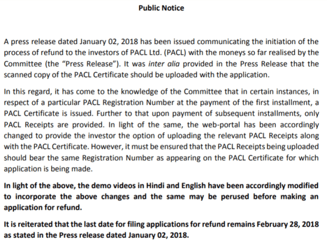 PACL Refund Notice