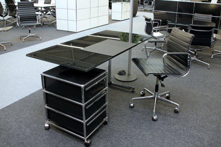 Schreibtisch Glasplatte Schwarz 2021