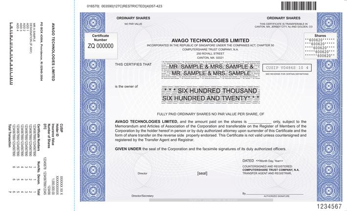 Form Of Specimen Share Certificate