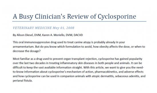 Busy Clinician's Review of Cyclosporine