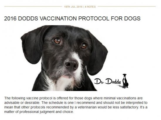 Dr. Dodds Vaccination Protocol 2016 NEW