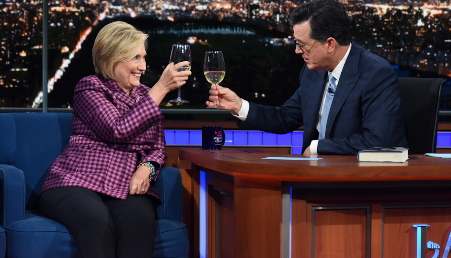 Stephen Colbert Talks Putin's Manspreading with Hillary Clinton