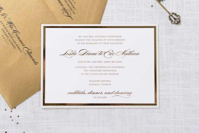 Elegant And Formal Luxury Wedding Invitation In Champagne