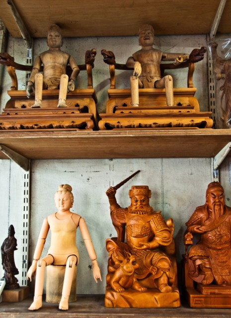 Wooden gods being carved at a workshop, Lukang