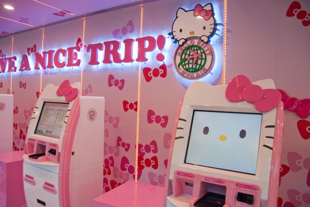 Hello Kitty kiosks for Eva Air, Taipei Airport - Taiwan trip