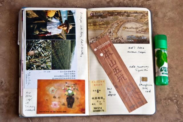 Moleskine travel journal and glue stick
