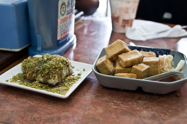 Stinky tofu, both raw (left) and fried, on the food tour - things to do in Taipei