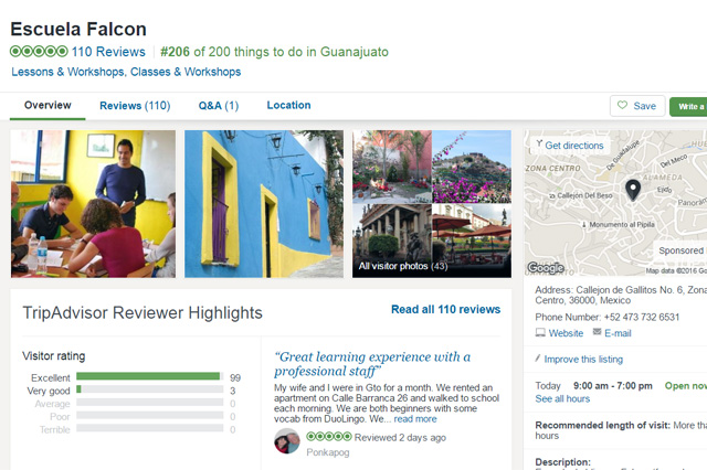 Tripadvisor Spanish language school reviews