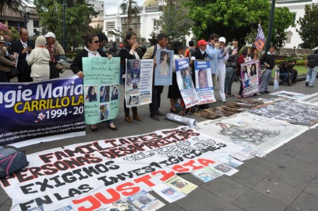 Protest in support of disappeared activists in front of the government palace, Plaza Grande, Quito