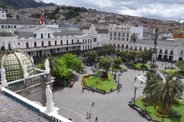 Sunny day in Quito. View from top of the cathedral.