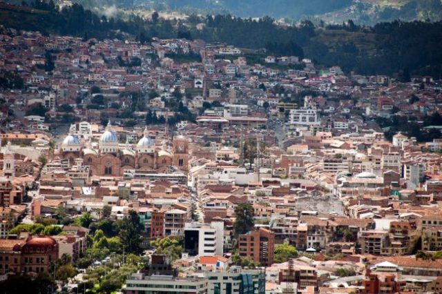 View over historic center of Cuenca