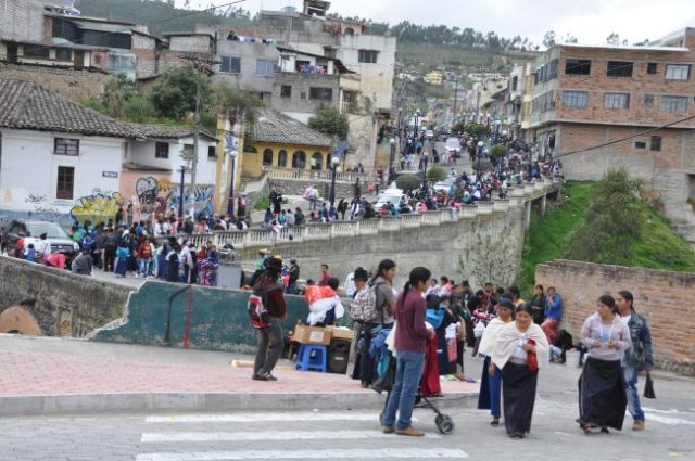 The market takes over most of the main streets of Otavalo on Saturdays.