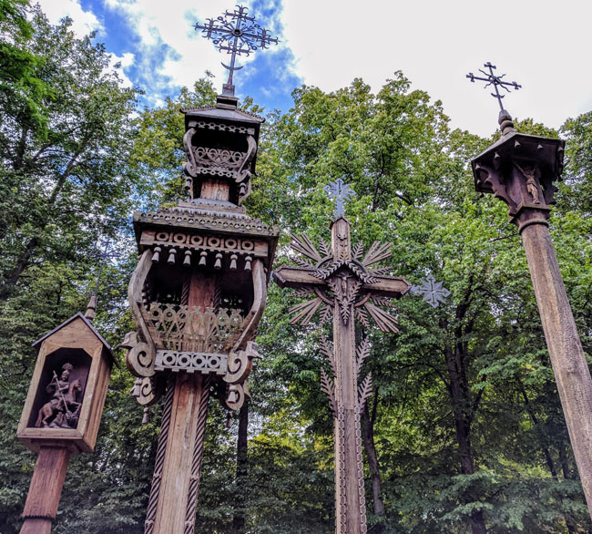 Traditional Lithuanian wooden crosses, Kaunas