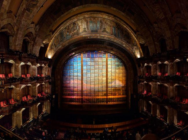 Tiffany mosaic glass curtain, auditorium, Palacio de Bellas Artes, Mexico City