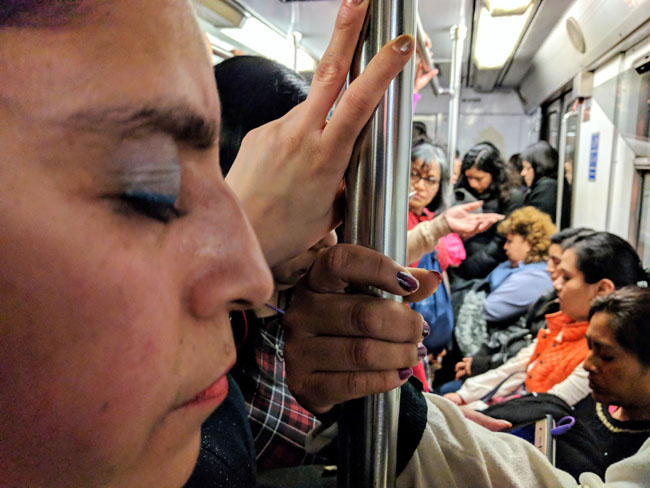 Crammed in like sardines during rush hour on the women's car of the Mexico City metro.