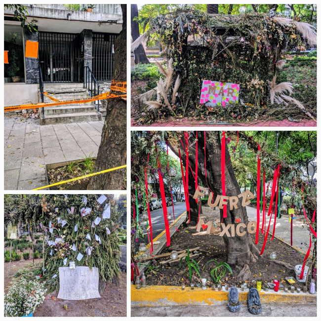 Traces of the September 2017 earthquake, La Condesa, Mexico City. Condemned building and memorials to earthquake victims