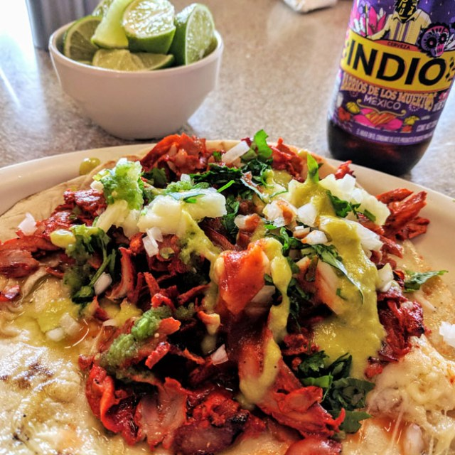 Trying gringa tacos at a local restaurant with Livit, my school in Puebla, Mexico. Lunch was included at Livit.