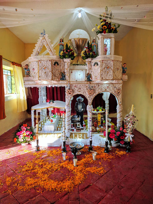 Ofrenda for a man who ran an ice cream shop, Huaquechula, Mexico