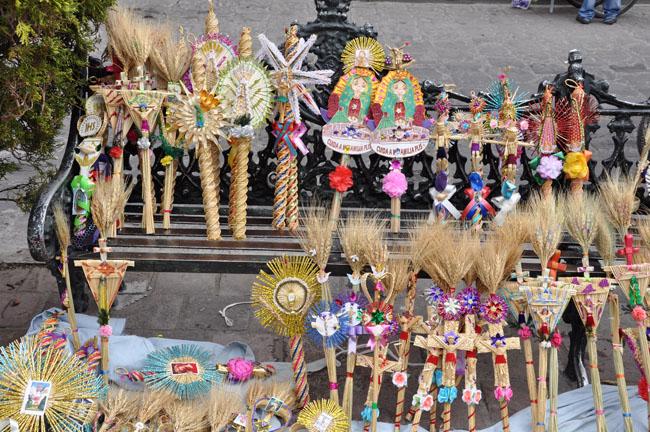 Palm crafts, Palm Sunday, Dolores Hidalgo, Mexico