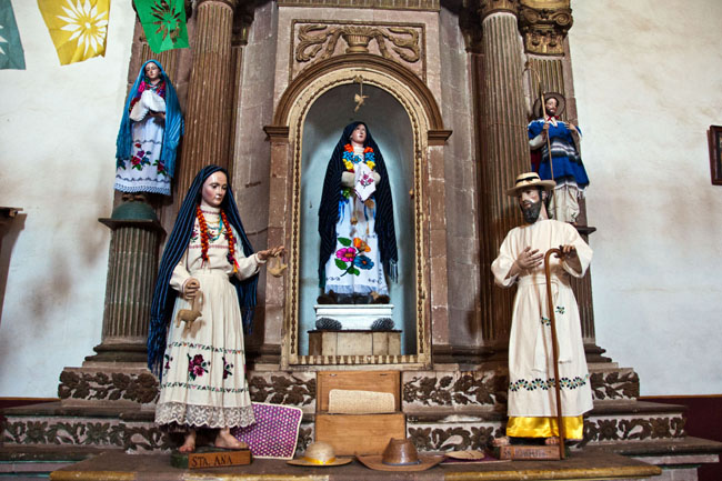 Templo de La Compañía de Jesús, Pátzcuaro. In indigenous communities in Mexico, the saints are dressed in traditional indigenous costume.