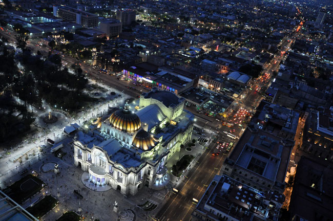 Bellas Artes at night from the Torre Latinoamericana, Mexico City