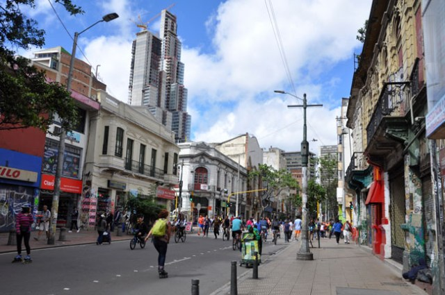 Try to plan your trip so you're in Bogotá on a Sunday. Each Sunday and public holiday the main streets of Bogotá are blocked off to cars for runners, skaters, and bicyclists. Bogotá was the first city in the world to start the tradition of Sunday ciclovías. Bogotá's weekly ciclovía is attended by two million people on over 120 km of car-free streets.