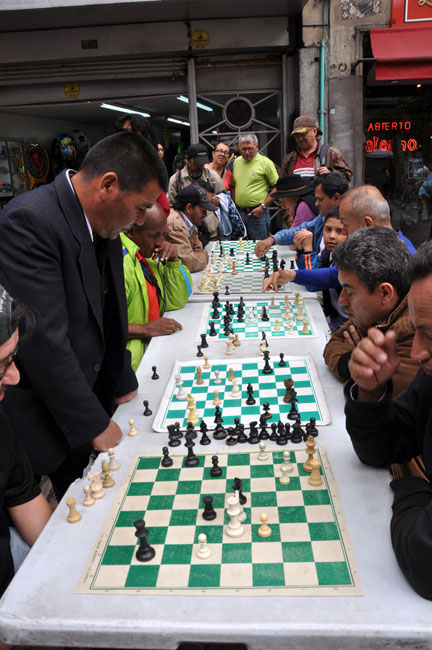 Chess tournament on the street, Bogotá