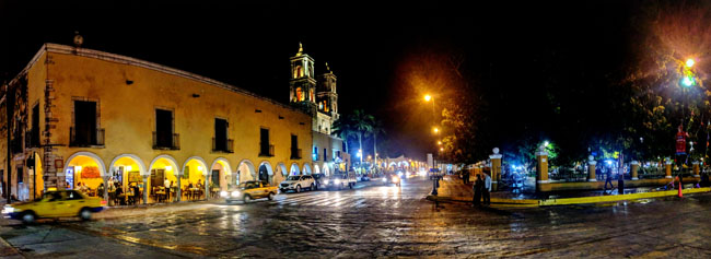 Valladolid plaza at night - trip to Yucatan Mexico