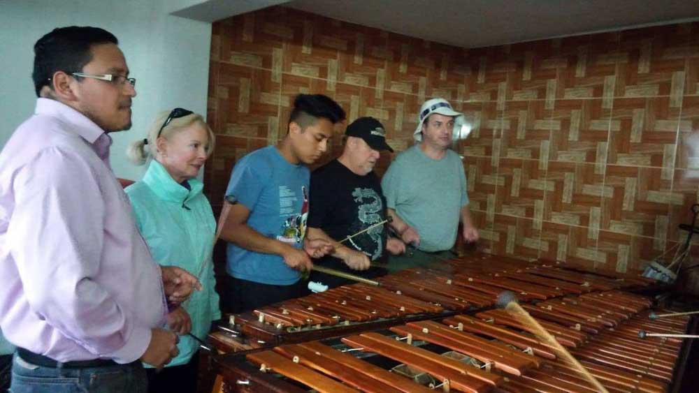 Learning to play the marimba - study Spanish in Guatemala