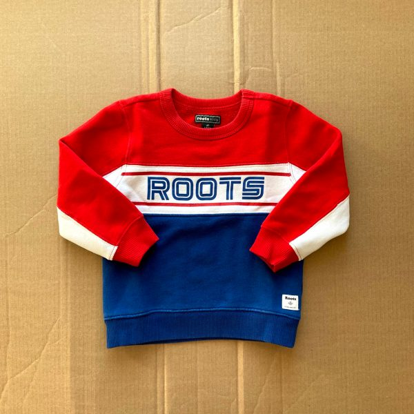 Roots long sleeve pullover crew neck sweatshirt red white blue