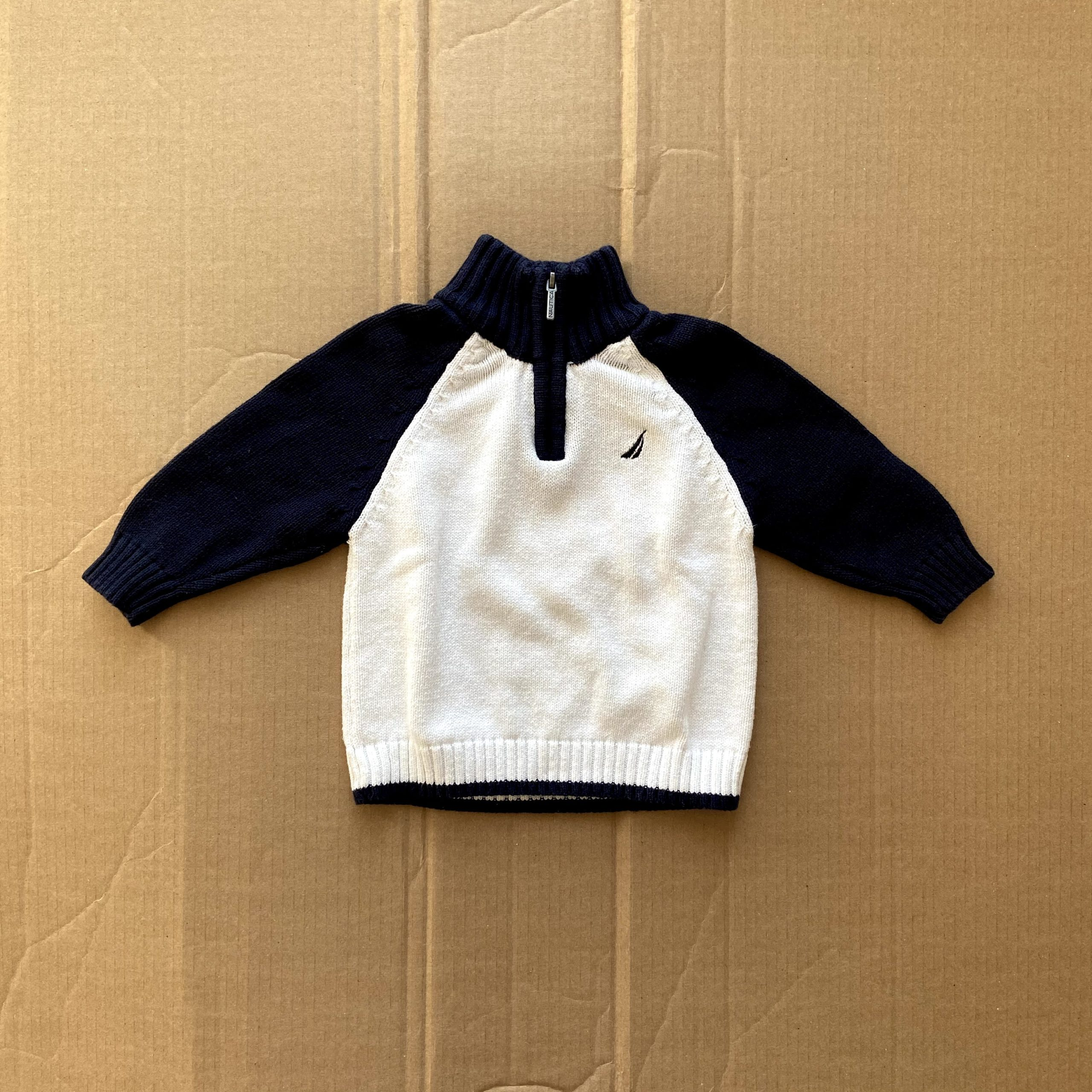 Nautica long sleeve knit zip up pullover sweater navy white