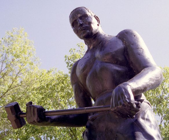 A statue of John Henry in Summers County, West Virginia.