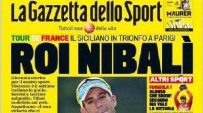 La prima pagina della Gazzetta dello Sport del 28 luglio 2014