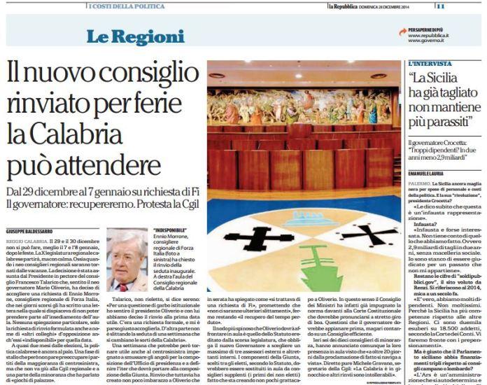 Repubblica sul rinvio del Consiglio regionale Calabria