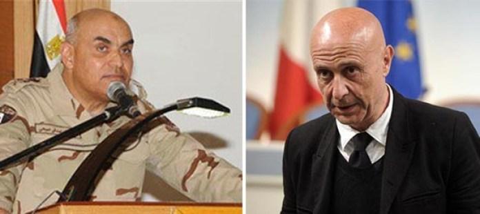 Il ministro della Difesa egiziano Sedky Sobhy e il capo dell'intelligence italiano Marco Minniti
