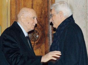 Sergio Mattarella in visita da Napolitano