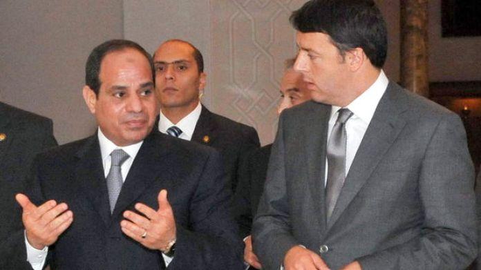 Matteo Renzi con il presidente egiziano Al Sisi
