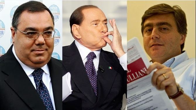 da sinistra De Gregorio, Berlusconi e Lavitola