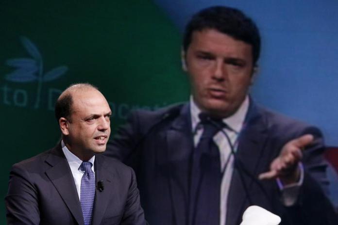 Unioni civili - Angelino Alfano e sullo sfondo Matteo Renzi