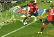 moviola in campo in incontro calcio