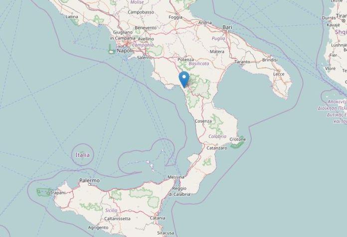 In cartina il punto del terremoto del 29 ottobre 2016 a Maratea