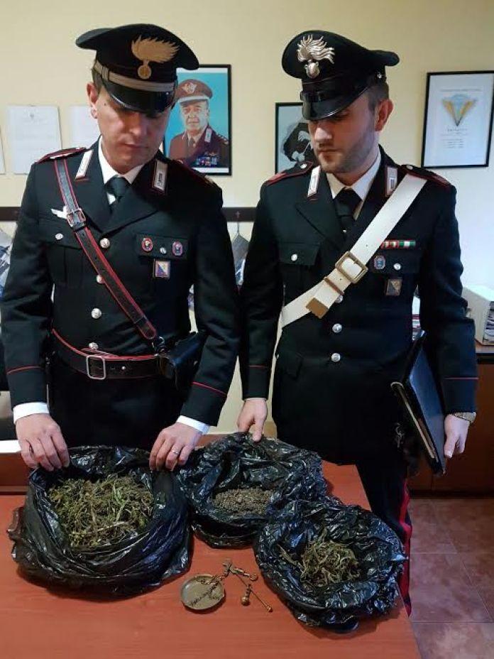 I carabinieri di Camigliatello con la marijuana sequestrata